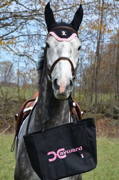 Tote for the Cure -  This bag is perfect for all your horse show and shopping needs and back to school.  It has inside pockets to help keep you organized. $29.99 - For ordering info email rhonda@hay-ward.com Show Horses, Breast Cancer Awareness, Equestrian, Back To School, The Cure, Pockets, October, Shopping, Horseback Riding