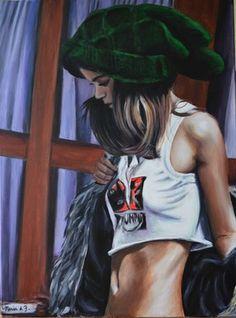 "Saatchi Online Artist Maria Folger; Painting, ""green hat"" #art"