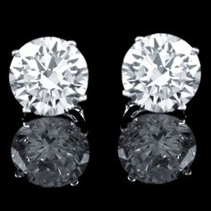 2.00 ctw Brilliant Round Cut Basket Pushback Earrings Solid Real 14k White Gold #Affinityfashionjewelry #Stud