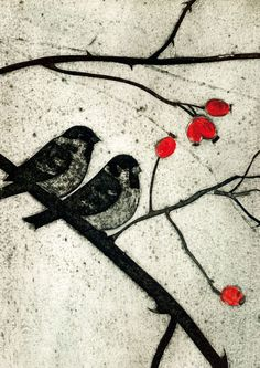 Tree Sparrows collagraph print detail by Kerry Buck