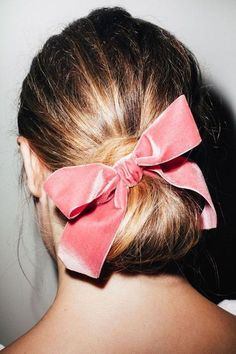 // b o w Holiday Hairstyles, Wedding Hairstyles, Formal Hairstyles, Relaxed Hair, Ombre Highlights, Velvet Hair, Pink Velvet, Velvet Ribbon, Hair Accessories For Women