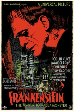 Movie Posters:Horror, Frankenstein (Mondo, Hand Numbered Limited Edition ScreenPrint Poster X Francesco Francavilla Artwo. Horror Movie Posters, Movie Poster Art, Art Posters, Print Poster, Monster Horror Movies, Frankenstein 1931, Classic Monsters, Alternative Movie Posters, Foto Art