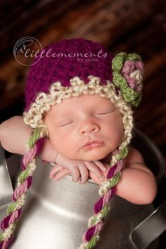 Newborn Baby Girl Green, Fuchsia, Cream and Pink Earflap Crochet Hat, Great for Photo Prop. $25.00, via Etsy.