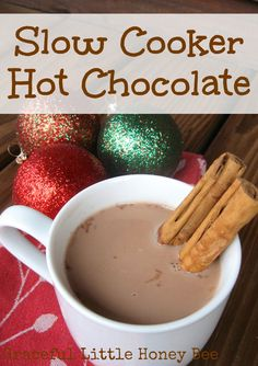 This slow cooker hot chocolate is the perfect recipe for your next holiday party!