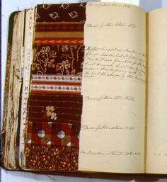 Sewing diary. Cunningham's handwritten notes accompany many samples and indicate variously where the fabric was purchased, who made it into clothing, who wore it, and where it was worn. The notes appear to have been written in retrospect, probably about 1885-90; the fabrics date from 1841 to 1890.
