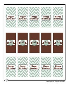 Cute Owl Birthday Printable Party Decorations Cute Owl Party Printable Mini Candy Bar Wrappers – Fantasy Jr.