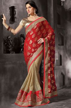 Beauteous Beige and Red Saree
