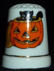 Halloween Pumpkin And Black Cat Thimble by yourgiftshoppe