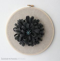 embroidery hoop art with fabric flower by HomeRoomStudio