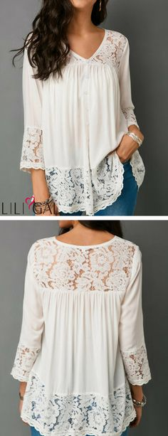 Lace Patchwork Button Up White Blouse - Outfits Trendy Tops For Women, Creation Couture, Patchwork Dress, White Casual, Sewing Clothes, Capsule Wardrobe, Plus Size Fashion, Lace Dress, Fashion Dresses