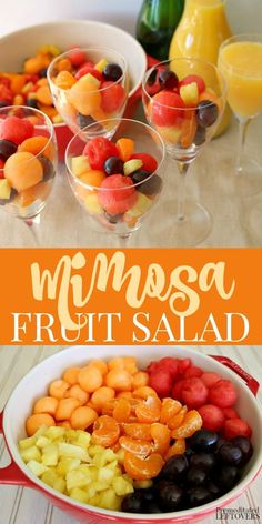 This Mimosa Fruit Salad Recipe Is An Easy Make-Ahead Brunch Recipe. You Start By. This Mimosa Fruit Salad Recipe Is An Easy Make-Ahead Brunch Recipe. You Start By Making A Homemade Make Ahead Brunch Recipes, Healthy Brunch, Easy Recipes, Dinner Recipes, Brunch Salad, Champagne Brunch, Mimosa Brunch, Brunch Party, Brunch Food