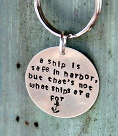Nautical Sailing Key Chain, Sailing Quotes, Boating Sailing, Fathers Day, Marine, Blue Beach Key Chain, Custom Key Chain, Sailing. $19.50, via Etsy.