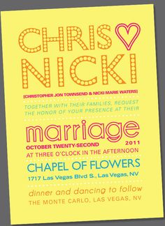 Las Vegas wedding invites