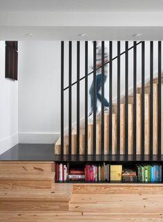 claustra escalier intérieur garde corps en bois noir