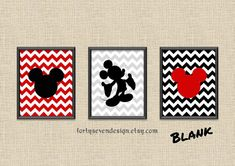 Set of 3 Mickey Mouse Red Chevron Custom Name by FortySevenDesign