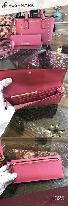 Authentic Michael Kors studded handbag&wallet set Gorgeous new color in tulip guaranteed authentic MICHAEL Michael Kors Bags Satchels
