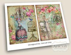 ROMANTIC DECOUPAGE  Digital Collage Sheet Printable by ArtCult, $4.99
