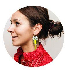 for neon lovers! Unique earrings bright neon colors lemon ear studs cute by MANJApl, $43.00