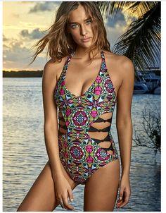 2017 Sexy Thong One Piece Swimsuit Women Floral Swimwear High Cut Monokini  Bodysuit Bathing Suit Lady Backless Swimwear Cut Out 07dbadbe0