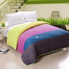 Colorful Stripe Flannel and Cotton Twin/Full/Queen Size Duvet Cover