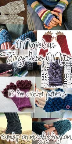 10 free crochet fingerless mitts patterns - perfect for crafting, typing, texting, and drafty spaces! Tons of patterns at mooglyblog.com