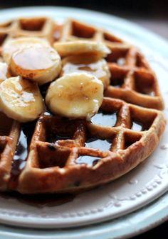 Healthy Banana Chocolate Chip Quinoa Flour Waffles