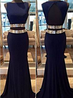 Mermaid Prom Dress/Evening Dress - Navy Blue Bateau Sash