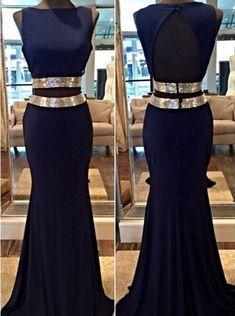 Mermaid Prom Dress/Evening Dress - Navy Blue Bateau Sash