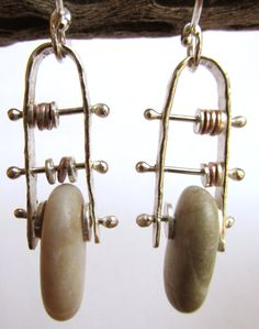 Earrings - Sterling Silver and Copper - Modernist Style - Abacus - Beach Stone - Silversmith - RMD Designs