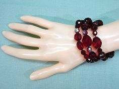 Memory Wire Bracelet Chunky Red Aurora Borealis by COBAYLEY