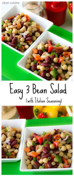 Quick and Easy 3 bean salad recipe makes the perfect side dish!