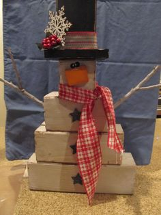 Mom and I made 6 of these cute snowmen for the craft show.