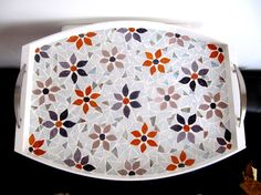 Tray Mosaic Serving Tray Flower Tray Purple Lavender by byGuls