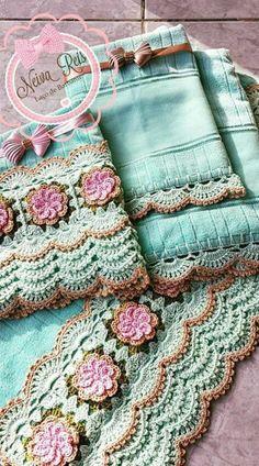 Brazilian Crochet And Handicraft Crochet Towel, Crochet Doilies, Crochet Yarn, Crochet Flowers, Crochet Blocks, Crochet Borders, Crochet Patterns, Knitting Projects, Crochet Projects