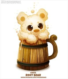 Daily Paint Root Bear by Cryptid-Creations on DeviantArt Cute Food Drawings, Cute Animal Drawings, Kawaii Drawings, Cute Fantasy Creatures, Cute Creatures, Kawaii Doodles, Kawaii Art, Anime Animals, Cute Animals