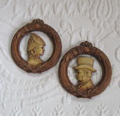 Vintage Carved Wall Hangings / Carved Victorian Lady and Gentleman by vintagous on Etsy