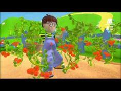 Dibujos animados  Alex en el huerto. Los tomates