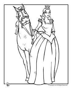 Pretty Princess & Horse Coloring Page