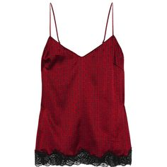 Stella McCartney Ellie Leaping printed stretch-silk camisole ($60) ❤ liked on Polyvore featuring intimates, camis, red, stella mccartney, polka dot camisole, red camisole, polka dot cami and red cami