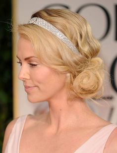 Celebrity Hairstyles: Charlize Theron Awesome Hairstyles With Jewelry Headband, hairstyles with a hairband, hairdos with headbands Messy Bun Hairstyles, Side Hairstyles, Headband Hairstyles, Summer Hairstyles, Prom Hairstyles, Wedding Hairstyle, Ladies Hairstyles, Headband Updo, Romantic Hairstyles