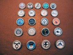 Marvel, Harry Potter, Superwholock, Percy Jackson, Hunger Games, TFIOS, Mortal Instruments, Disney Assorted Bottle Cap Badges by OhanaCentral