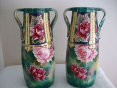 Pair of Hand Painted 2 Handled Japanese Vases  #Unknown
