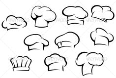 White Chef Hats and Caps #GraphicRiver White chef hats and caps set in cartoon style. Editable EPS8