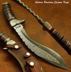 Antonio Banderas' 1 of A Kind Custom Damascus Khukri Kukri Knife Bowie Leather