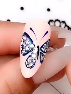 Butterfly Nail Designs, Butterfly Nail Art, Rose Nail Art, Flower Nail Art, Gel Nail Art, Nail Art Diy, Skull Nail Art, Nail Art Designs Videos, Nail Design Video