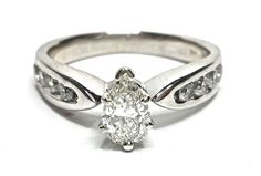 Pear Shaped Diamond Engagement Ring 1.06CTW Size 7.75 14Kt White Gold GV95148  #SolitairewithAccents