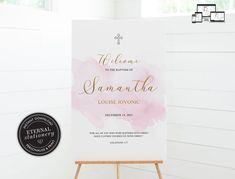 Baptism Welcome Sign Template, Modern Baptism Sign, Baptism Girl, Christening Welcome Sign, Watercolour, Simple Baptism Sign, Samantha Christening Invitations, Sign Templates, Girl Christening, Photo Center, Font Styles, Premium Fonts, Textured Background, Your Design, Watercolour
