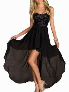 Black Glitter Strapless Bandage Long Back Dress