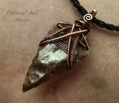 Mens necklace Arrowhead necklace Wire by PillarOfSaltStudio