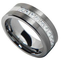 brushed tungsten carbide princess cut cz men women wedding band ring size 7 15 descriptions